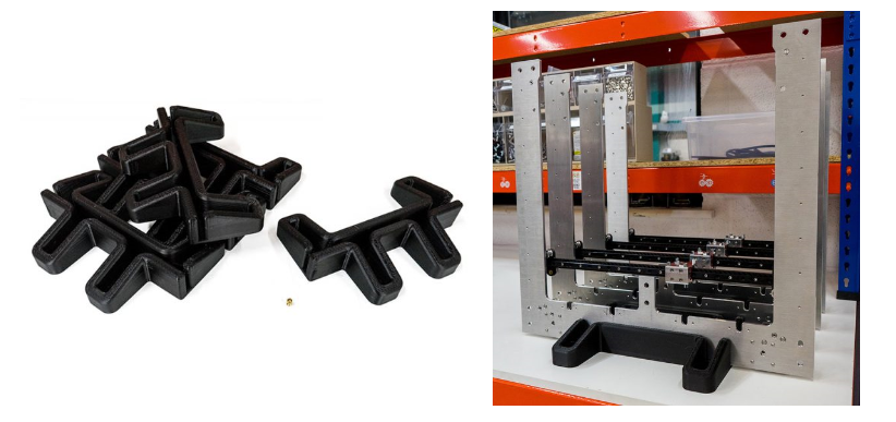 The XY plate being used in E3D's assembly lines, 3D printed using the SuperVolcano. Images via E3D.