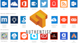 Authentise logo over Microsoft Flow connectors. Images via Authentise and Microsoft