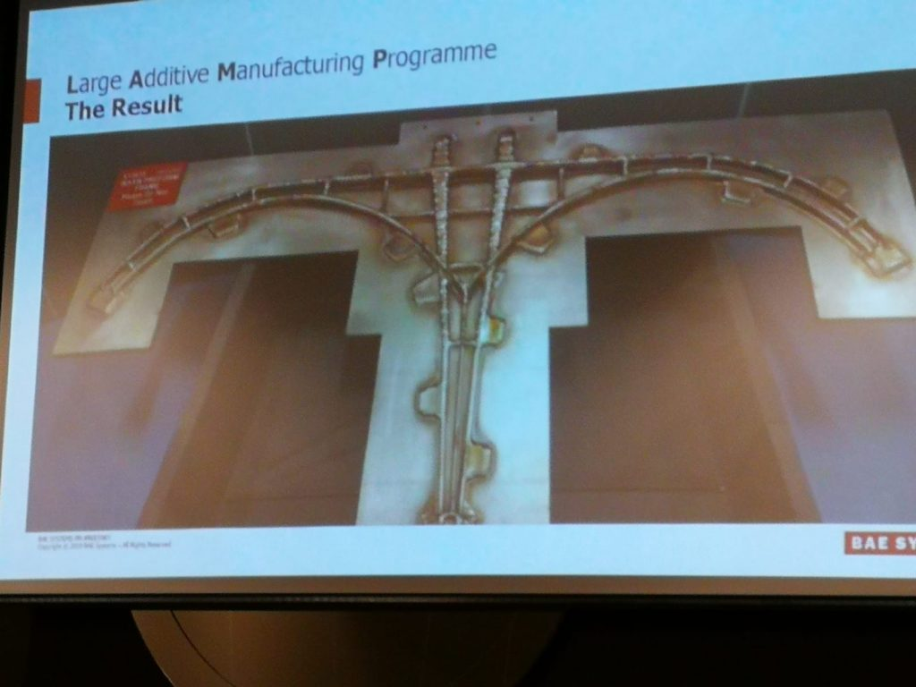 The WAAM 3D printed rear frame for a Eurofighter Typhoon. Image via Dr. Filomeno Martina, original via BAE Systems