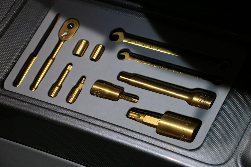 The 3D printed titanium Speedtail toolkit. Photo via Máté Petrány/Road & Track.