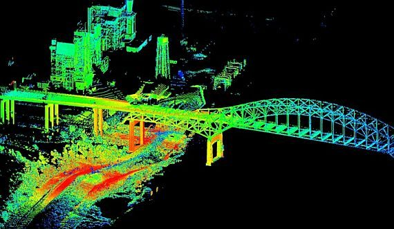 An example of a LiDAR-scanned landscape. Image via Military & Aerospace Electronics.