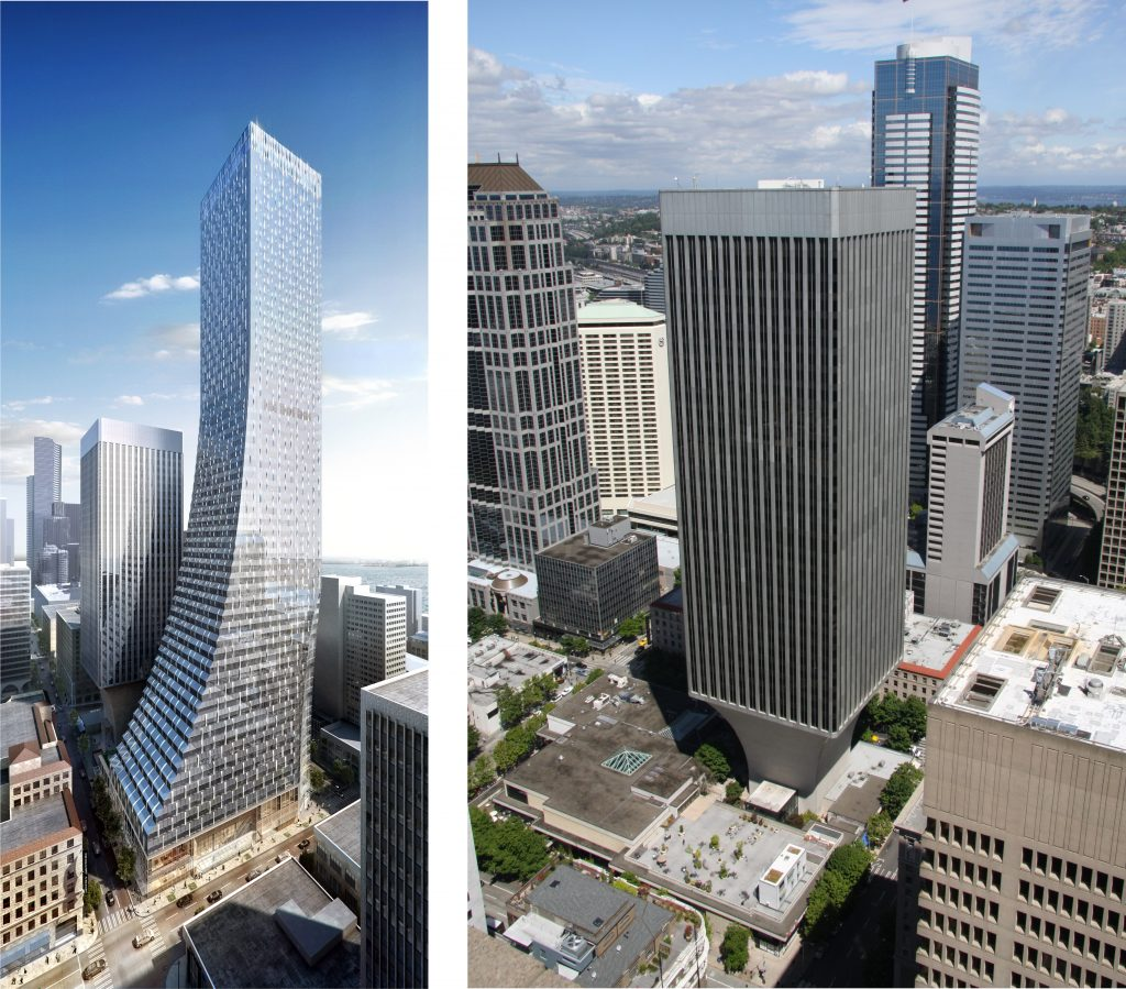 New design for Rainier Square Tower vs the original tower designed by Minoru Yamasaki. Left: NBBJ rendering by Atchain Right: photo by Cumulus Clouds, via WikiMedia Commons