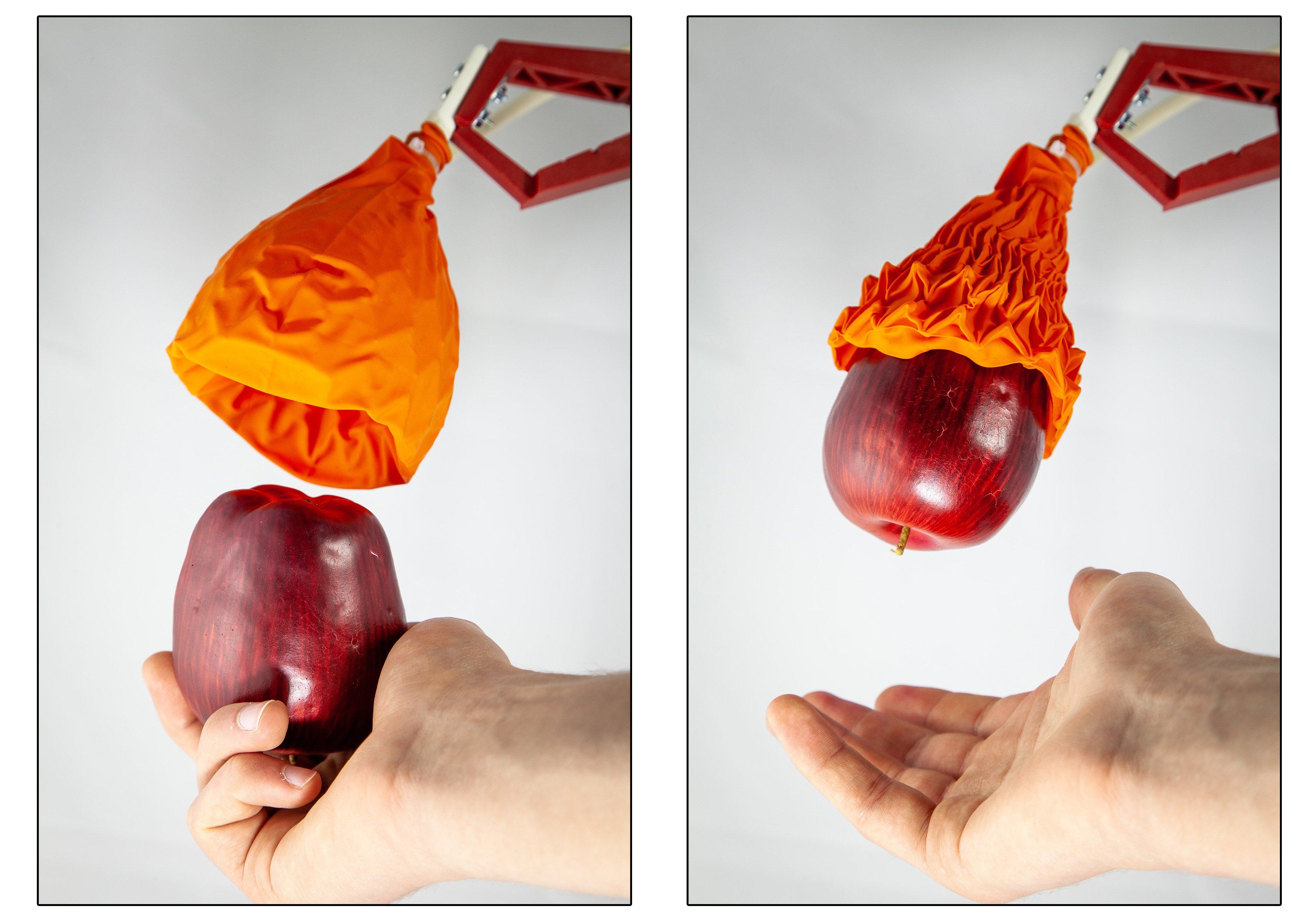The origami-inspired gripper holding an apple. Image via MIT.