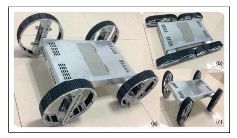 The reconfigurable wheel-track-leg hybrid robot. (a) Wheel mode. (b) Track mode. (c) Leg mode. Image via NUDT.