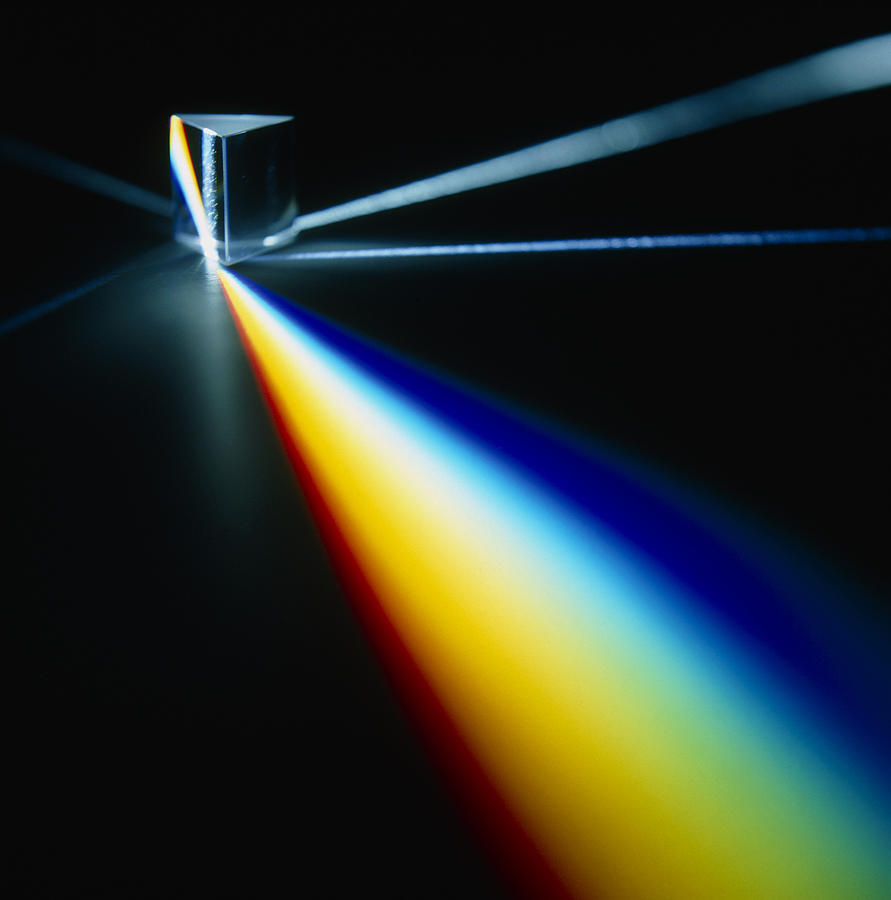 Dispersion of white light into photons through a prism. Image via Fine Art America.