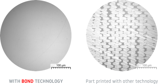 Microstructure of parts 3D printed using Bond 3D technology vs others. Image via Bond 3D