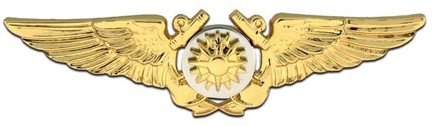 Example military insignia produced by IRA Green. Photo shows a gold plated badge for an Aerial Navigator in the Navy. Photo via IRA Green