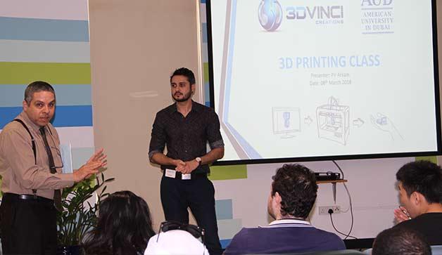 3DVinci Creations delivering a 3D printing workshop at AUD. Photo via AUD.