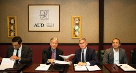 AUD signed a cooperation agreement with Arabtec Construction Company, 3DVinci Creations and Robert Bird Group. Photo via 3DVinci Creations.