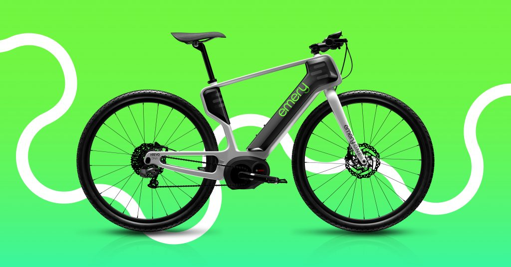 The new Emery ONE eBike, features a durable 3D printed unibody bike frame. Image via AREVO.