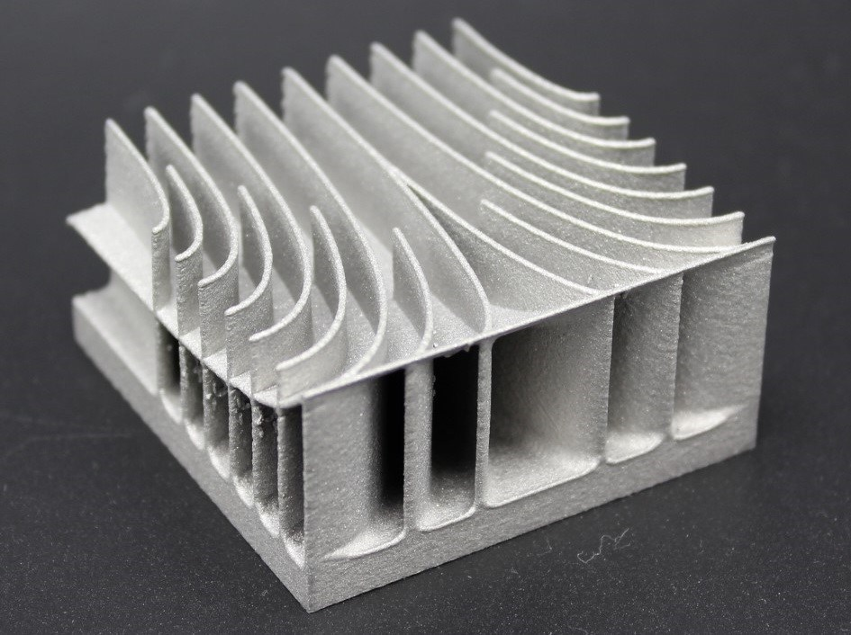 A metal 3D printed component created using powder bed fusion. Photo via 3Diligent.