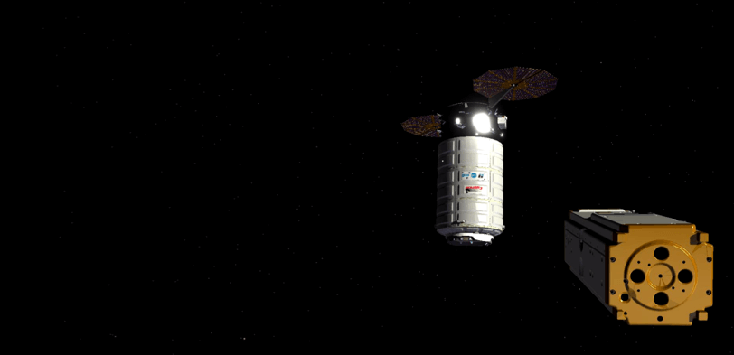 Simulated rendering showing Seeker Robot flying in space around Cygnus spacecraft. Image via Carbon.