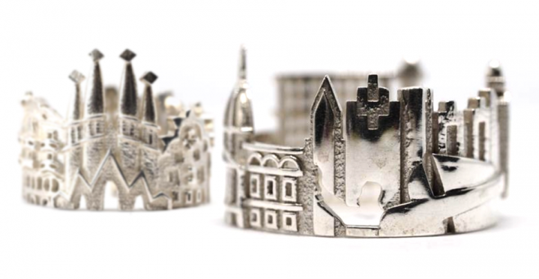 3D printed rings from Ola Shektman, Creator and Designer of Cityscapes Rings. Photo via Cityscapes Rings on Etsy.