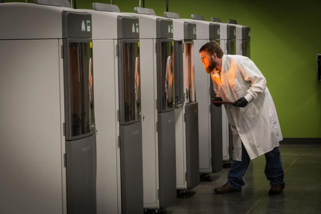 3D Systems 3D printers in Protolabs North Carolina Facility. Photo via Protolabs