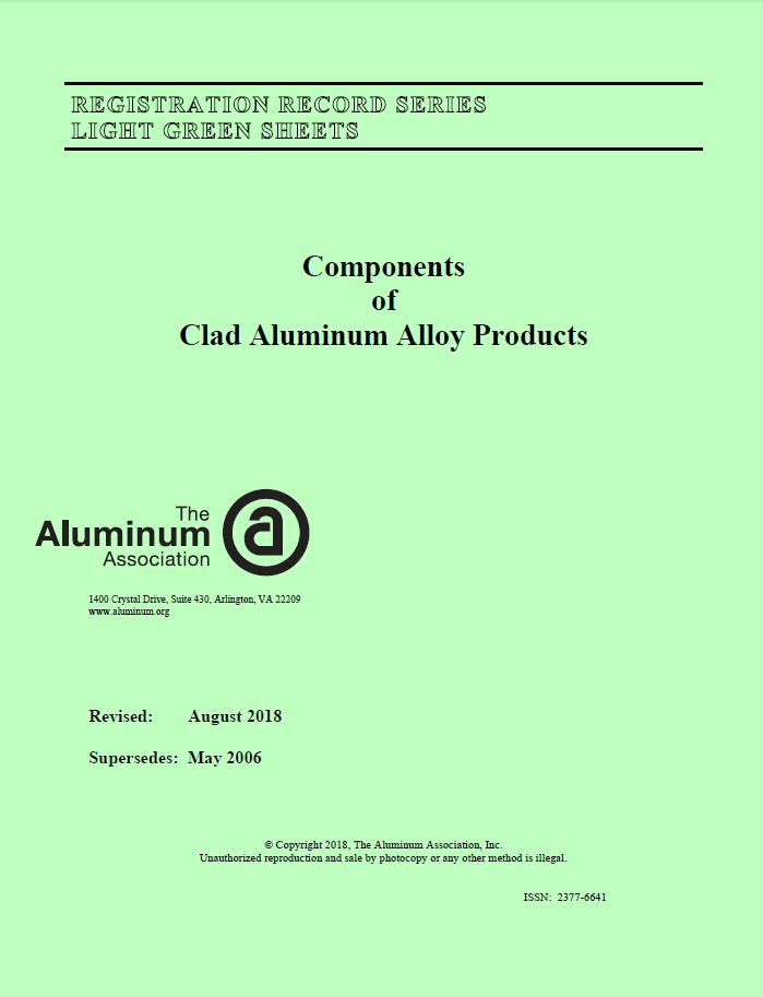 A light green aluminum standard sheet published by the Aluminum Association. Image via Aluminum Association.