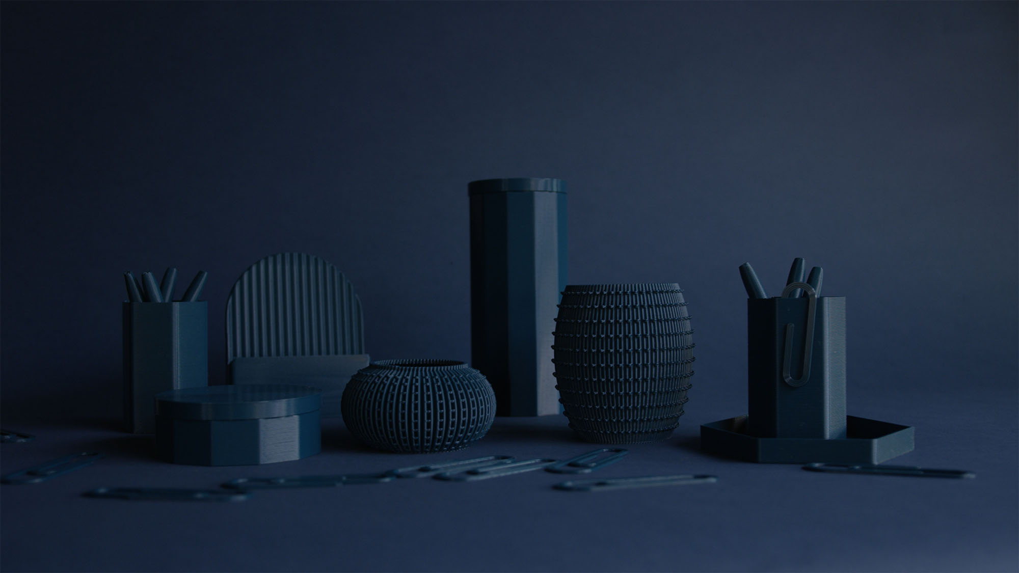 The Batch.works homeware collection in Ocean blue. Image via Batch.works.