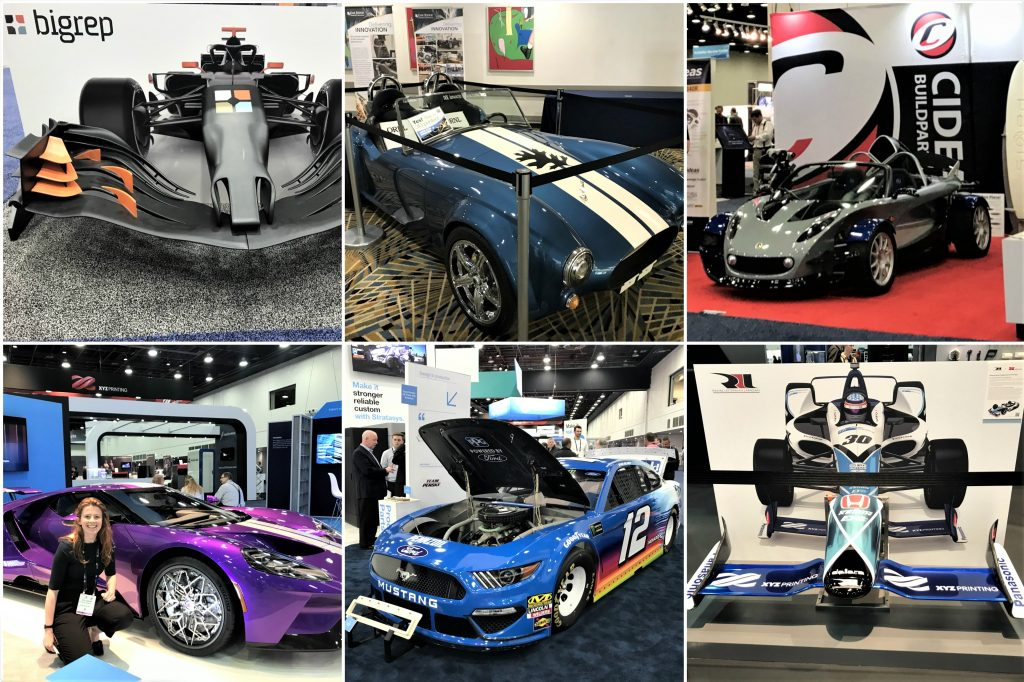 Top L-R: 3D printed prototype F1 car nose by BigRep, the ORNL BAAM 3D printed Shelby Cobra, a Lotus 340R with integrated 3D printing at CIDEAS/Paxis booth. Bottom L-R: Ford GT with wheels 3D printed by GE Additive and HSE, a demo Ford Mustang at Stratasys' booth, 3D printed prototype F1 car nose by BigRep. All photos by Beau Jackson