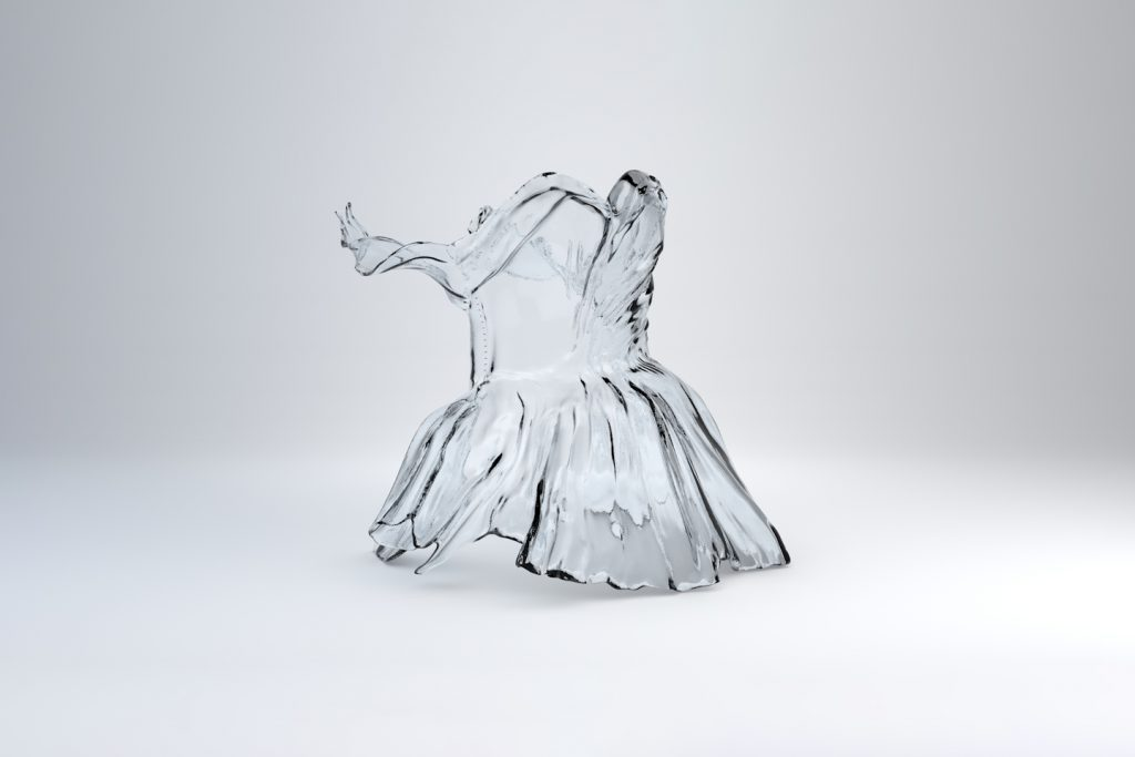 The 3D printed clear bustier designed by Zac Posen for the 2019 Met Gala. Photo via Zac Posen x GE Additive x Protolabs
