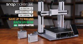 The Snapmaker 2.0 3-in-1 3D printer on Kickstarter. Image via Snapmaker
