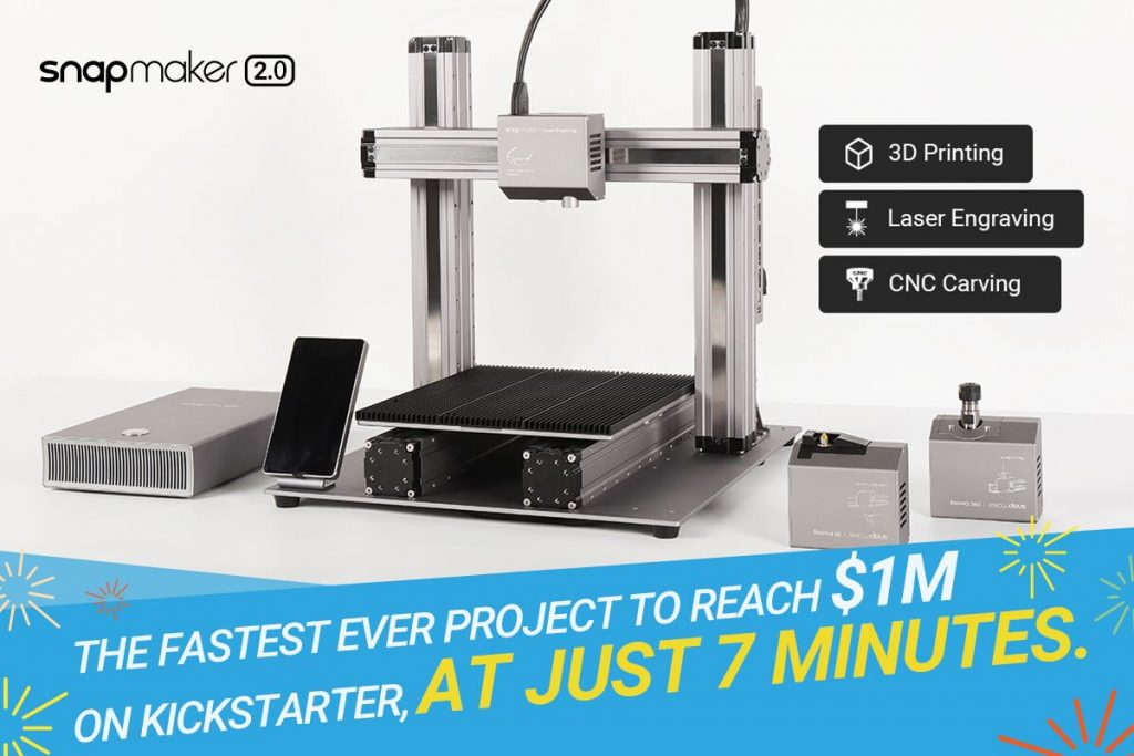 When Snapmaker delivers its 2.0 systems it will become the highest back 3D printing certification project ever funded through Kickstarter. Image via Snapmaker
