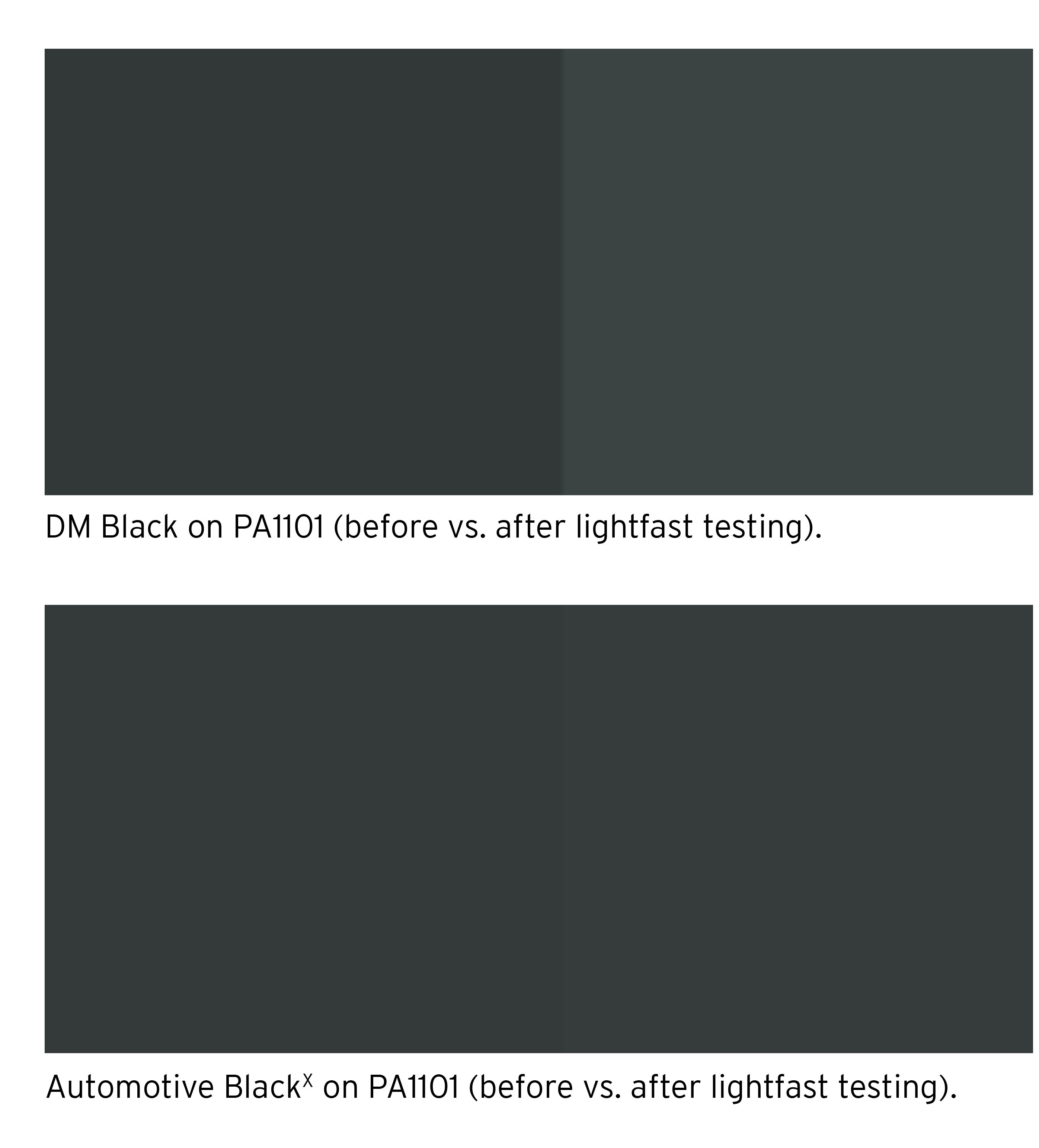 Comparison of the DM Black and Automotive BlackX on EOS PA1101. Image via DyeMansion.