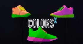 Neon shoes rendered with colors from the Neon ColorsX solution from DyeMansion. Image via DyeMansion.