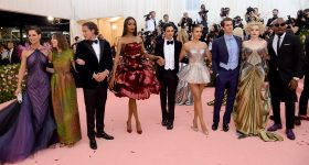 From left to right: Jamie Foxx, Andrew Garfield, Jourdan Dunn, Julia Garner, Nina Dobrev, Vito Schnabel, Gia Coppola, Katie Holmes and Zac Posen attend The 2019 Met Gala Celebrating Camp: Notes on Fashion at Metropolitan Museum of Art on May 06, 2019 in New York City, sporting Posen's 3D printed fashions. Photo by Jamie McCarthy/Getty Images