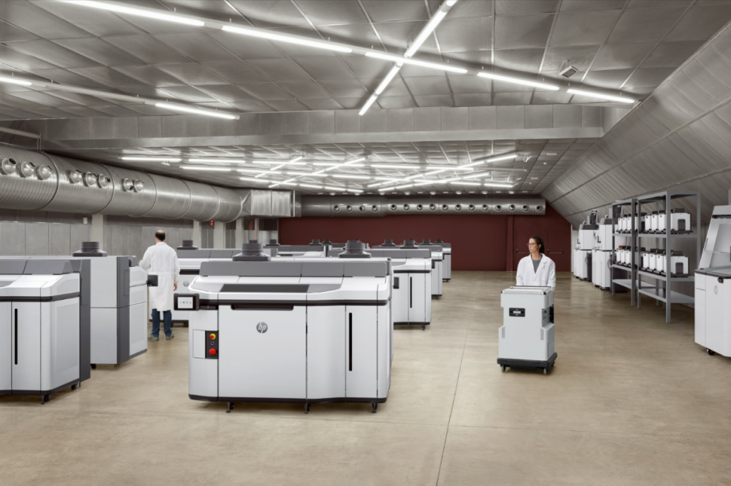 The HP Jet Fusion 5200 3D printing solution with powder handling units. Image via HP