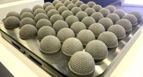 Bed of 3D printed, latticed nodes at Additive Industries. Photo by Beau Jackson