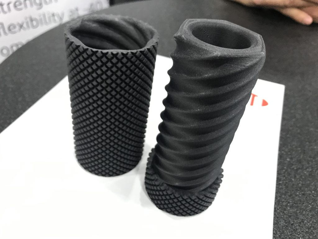 Sample 3D print using DuPont carbon fiber reinforced Zytel. Surface finish looks and feels similar to parts produced using SLS. Photo by Beau Jackson