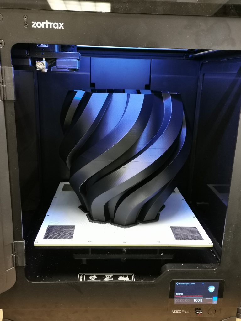 3D printed vase making the most of the M300 Plus' large print bed.