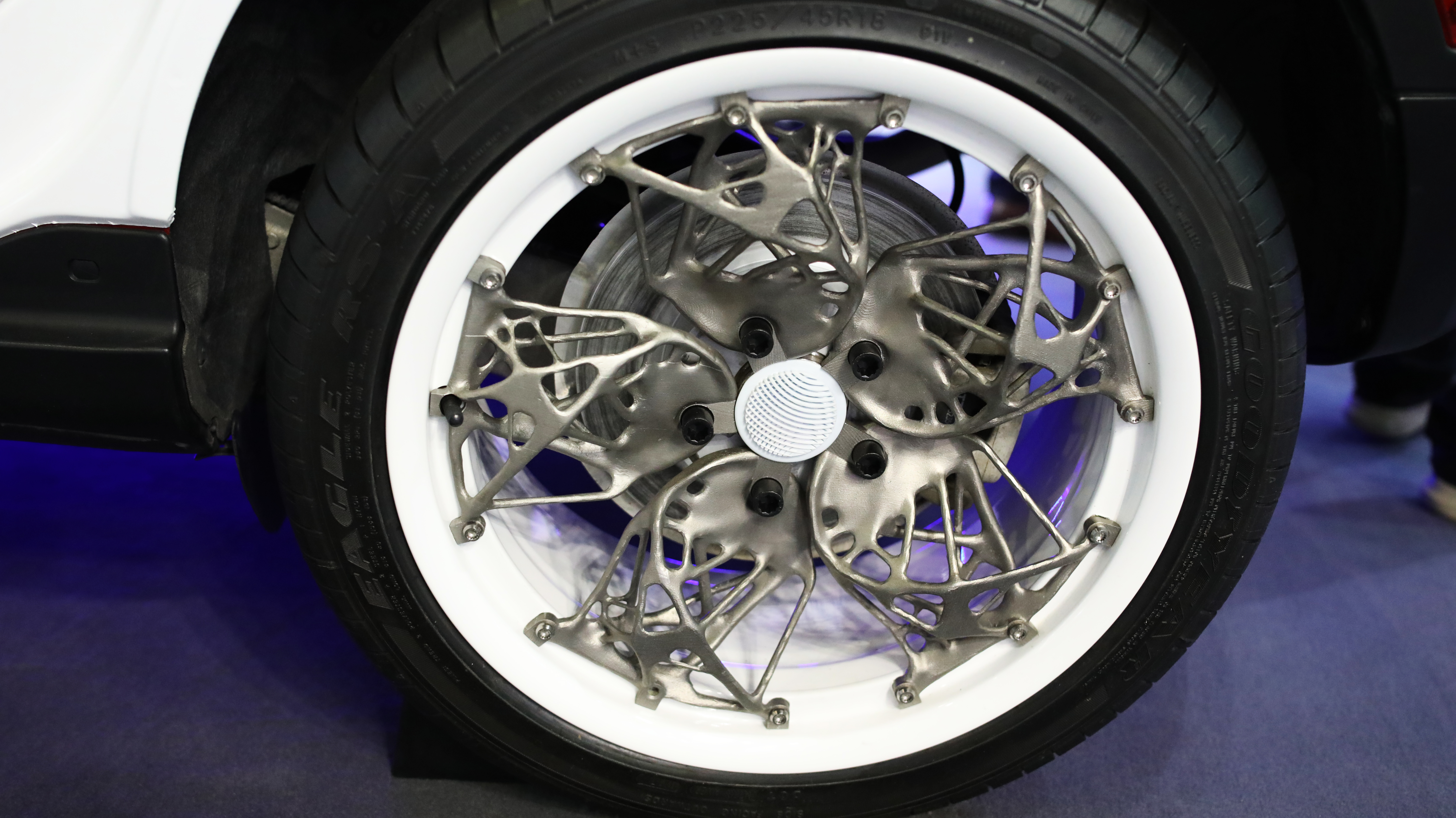 A metal 3D printed wheel rim designed with CogniCAD. Photo via ParaMatters.