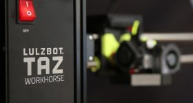A close-up of the Lulzbot TAZ Workhouse 3D printer. Photo via Aleph Objects.