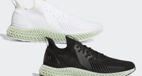The Alphaedge 4D 3D printed shoe, Black Carbon and White Carbon. Image via Sneaker Bar Detroit.