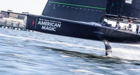 The American Magic training in Pensacola with the AM38 test boat with 3D printed parts. Photo via American Magic.