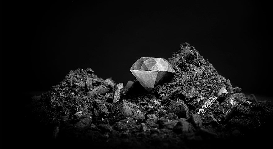 A 3D printed diamond composite. Photo via Sandvik.