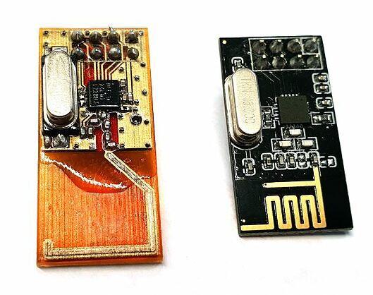 3D printed transceiver compared to a traditional transceiver. Photo via Nano Dimension.