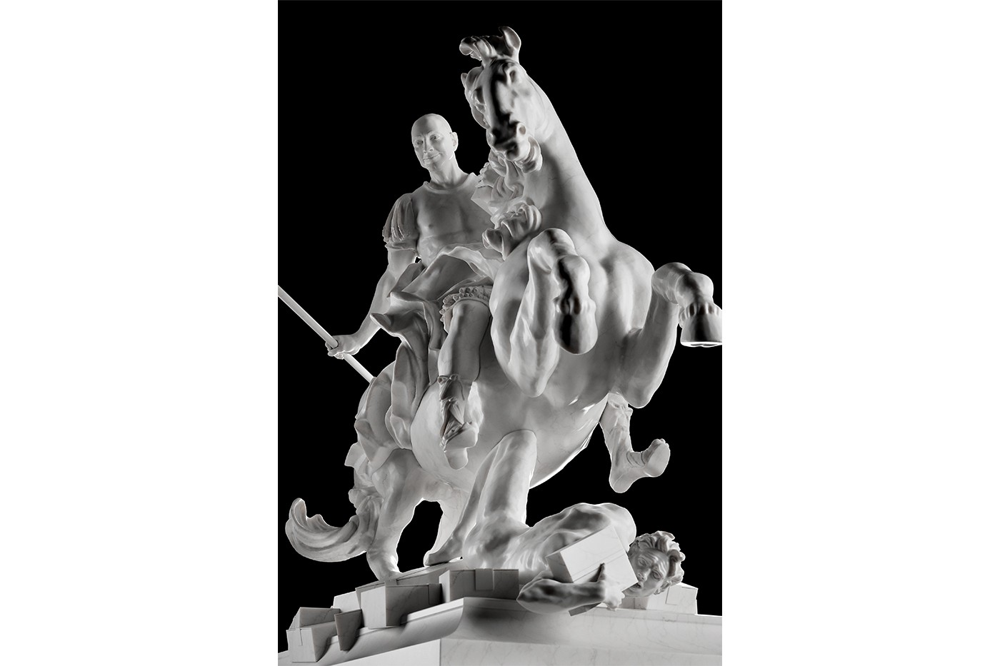 A 3D printed statue of Jeff Bezos riding a horse. Image via Sebastian Errazuriz Studio.