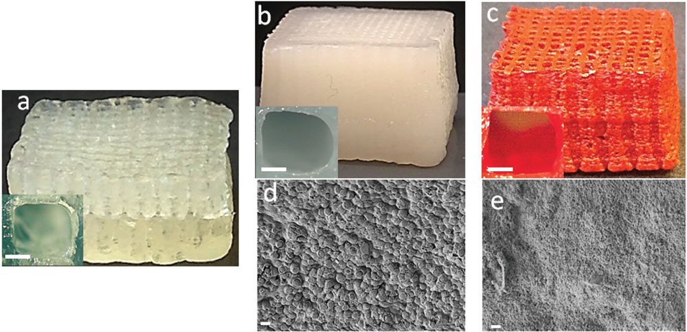 3D printed scaffolds made with ZIF-8, and MIL-100. Image via Wiley-VCH Verlag.