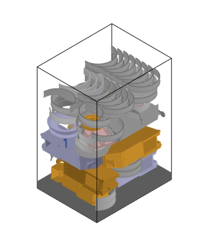 The True Shape Nesting feature creates the optimal building simulation for 3D printing. Image via Link3D.
