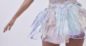 Detail of the glass-slipper-like dress worn by Nina Dobrev at the 2019 Met Gala. Photo via Zac Posen x GE Additive x Protolabs