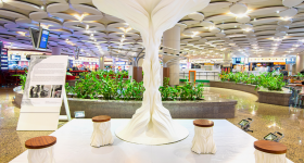 The 3D printed Jhada installation at Mumbai Airport. Photo via Fracktal Works.