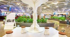The 3D printed Jhada installation at Mumbai Airport. Photo via Fracktal Works.