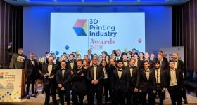 The 3D Printing Industry team onstage with all winners of the 2019 3D Printing Industry Award. Photo by Vickie Licková for 3D Printing Industry