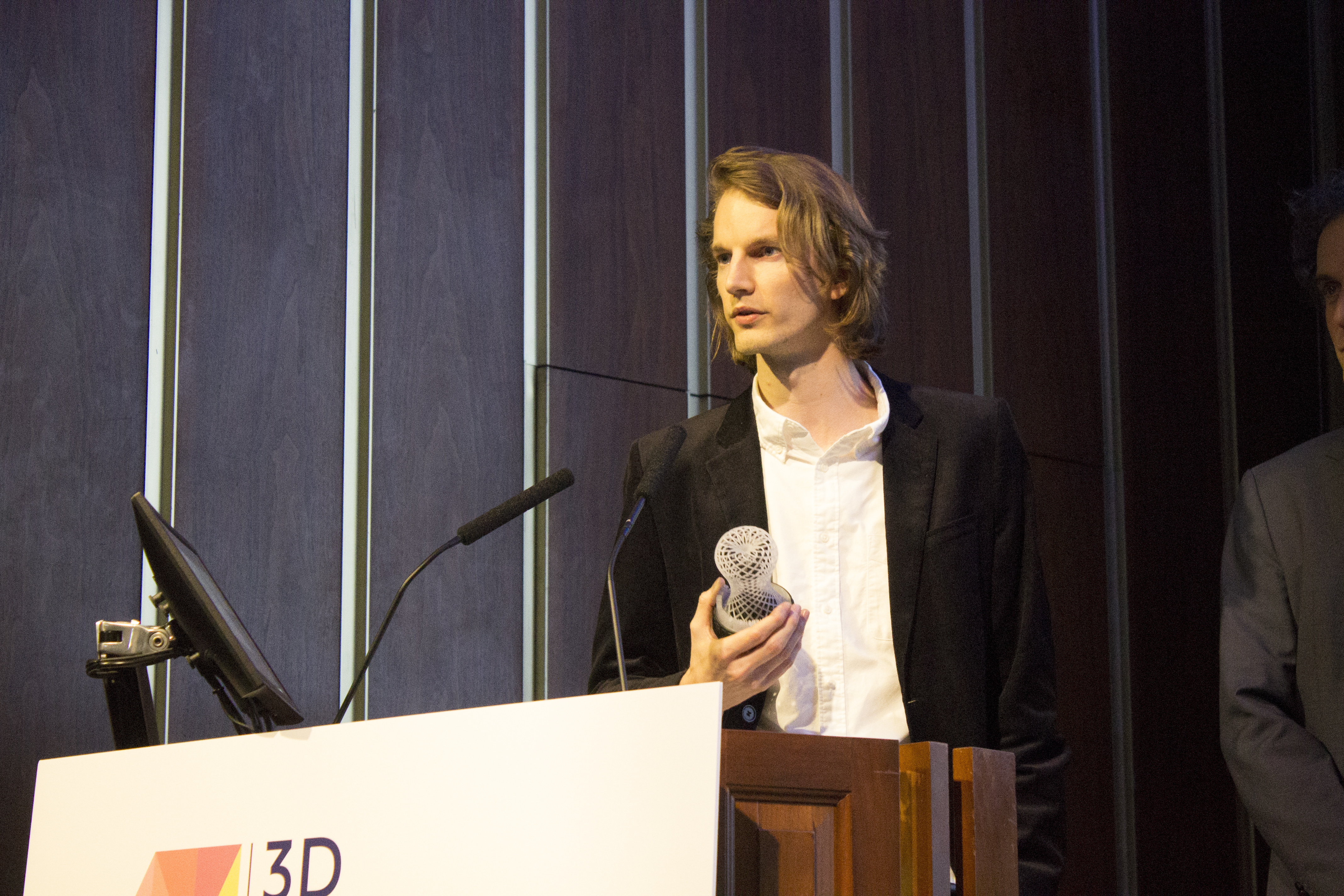 Mirek Classen, Head of Innovation at BigRep's NOWLAB that built the award-winning NERA e-motorcycle, speaks at the 2019 3D Printing Industry Awards. Photo by 3D Printing Industry