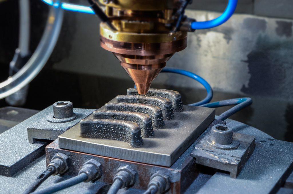 Generative laser powder buildup welding developed at Fraunhofer IWS. Photo via Fraunhofer IWS Dresden