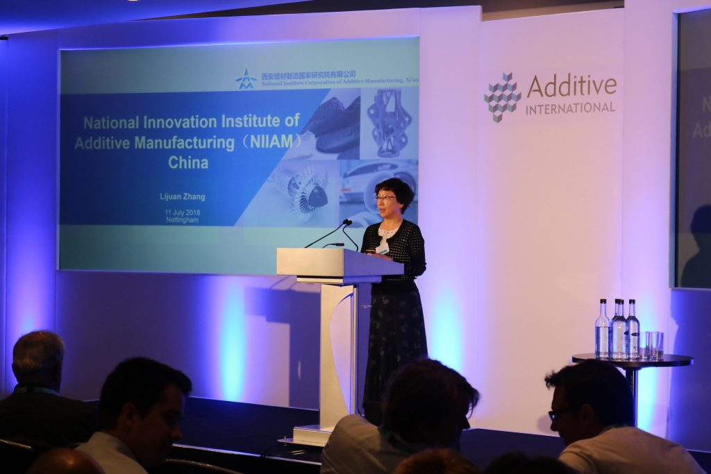 Lijuan Zhang, Professor at the National Innovation Institute of Additive Manufacturing (NIIAM), China, presenting at Additive International 2018. Photo via Additive International