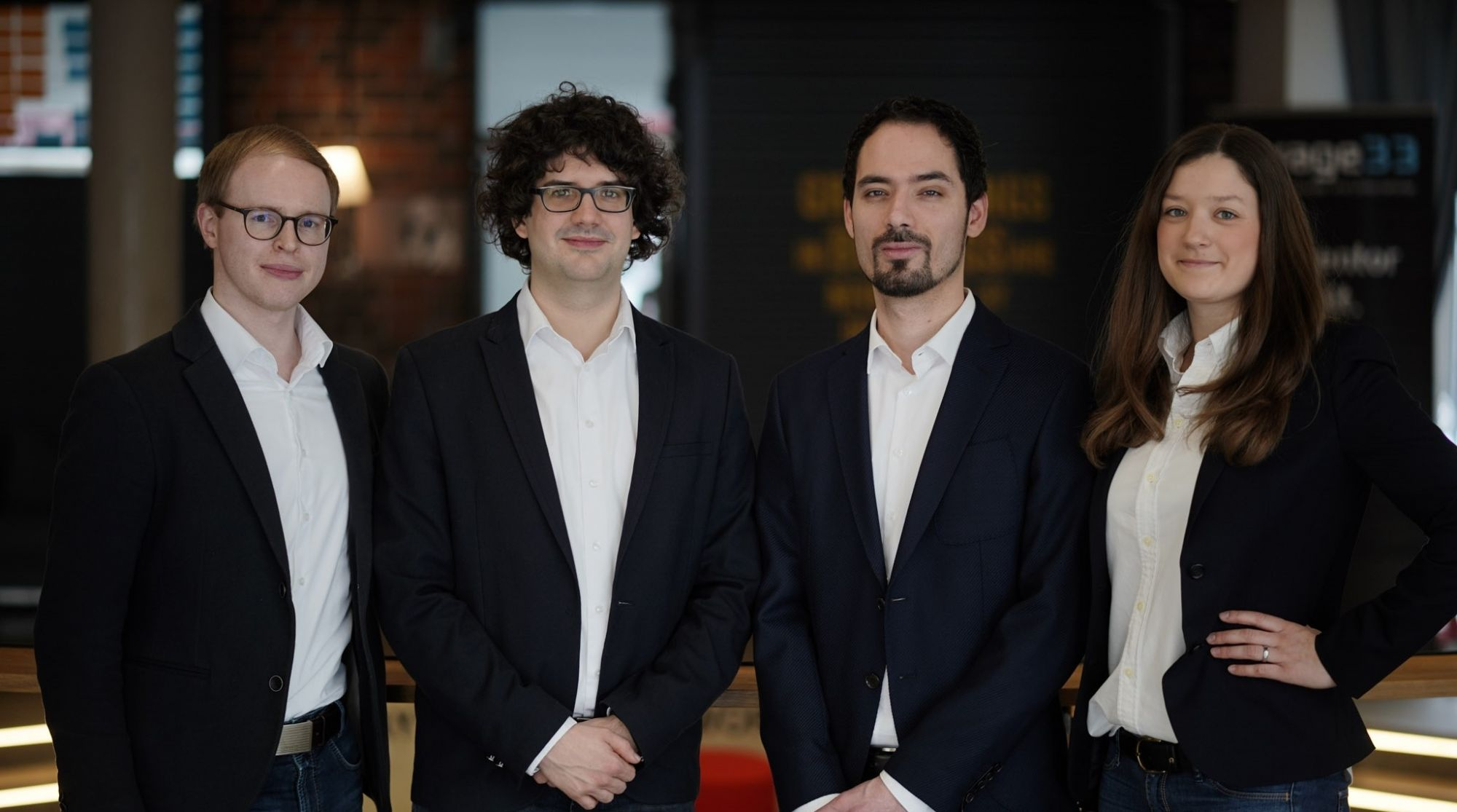The AMendate founders, from left to right: Dr. Gereon Deppe, CFO, Dr. Thomas Reiher, CEO, Steffen Vogelsang, CTO, Anne Düchting, COO. Photo via Hexagon.