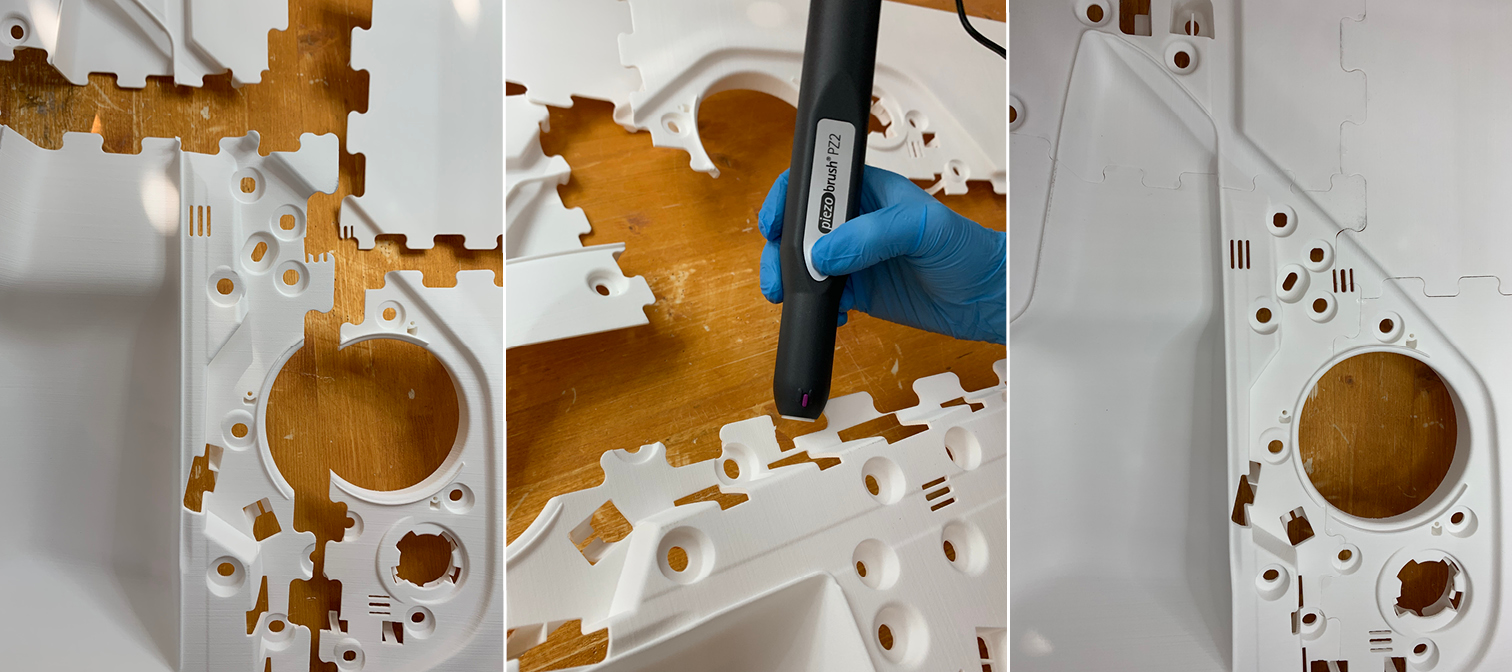 A internal lining of a car door put together using the piezobrush PZ2. Image via Relyon Plasma.