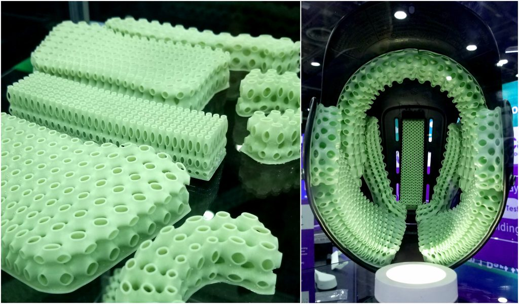 Baseball helmet with 3D printed lattice padding created as a demonstration of the company's capabilities. Photos via General Lattice